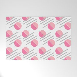 Modern Pink Circle Line Abstract Welcome Mat