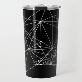 Black Geometric Dots and Lines Travel Mug