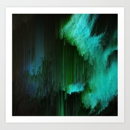 Aurora Borealis - Abstract Glitchy Pixel Art Art Print