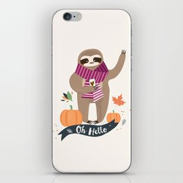 Comfy Sloth for the Fall & Pumpkin iPhone Skin