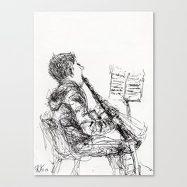 Boy with clarinet Canvas Print