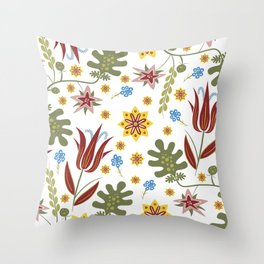 Stylised Bohemian Hippie Flowers Throw Pillow