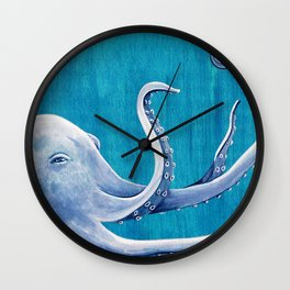 Marine Blue Octopus Wall Clock