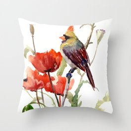 Cardinal Bird And Poppy Flowers Throw Pillow