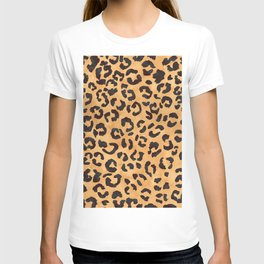 Modern trendy brown beige watercolor hand painted leopard pattern T-shirt