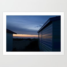 Beach Huts at Sunset Art Print
