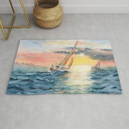 Sailing To The Sunset  Rug