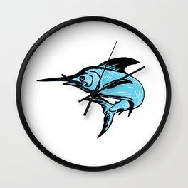 Blue Marlin Fish Jumping Drawing Wall Clock