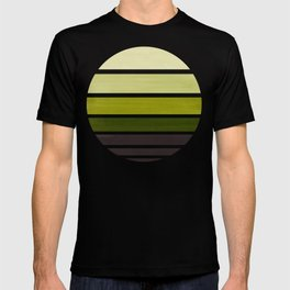 Olive Green Mid Century Modern Minimalist Circle Round Photo Staggered Sunset Geometric Stripe Desig T-shirt