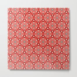 Vintage Poppy Red and Old Cream Drawn Flower Linear, with Black Seed Pods Floral Metal Print