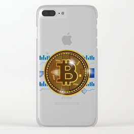 Cool Bitcoin crypto currency logo design Clear iPhone Case