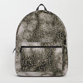 Gray Marble Pattern Black And Silver Vined Backpack