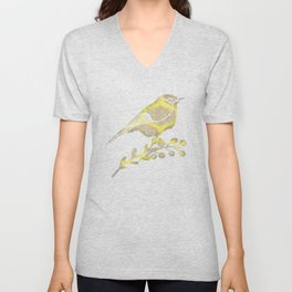 Garden Charm IV:  Floral Geometric in Yellow and Blue Unisex V-Neck