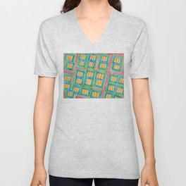 Pastel Colored Striped Squares Pattern  Unisex V-Neck