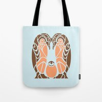 penguins Tote Bags featuring Penguins by Hinterlund