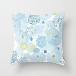 Blue baby shower greeting card with square, stars, hearts Throw Pillow