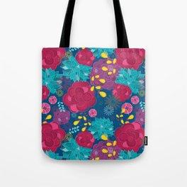 Royal blue floral Tote Bag