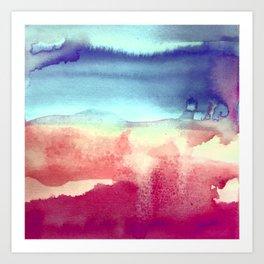 Tie-Dye Watercolor Blues, Greens, Pale Yellow, Dark Pinks Abstract Design Art Print