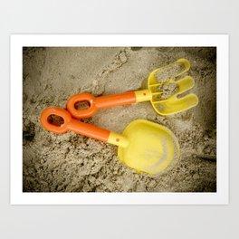 Beach Print Yellow and Orange Sand Toys Children Nursery Room Decor Art Print