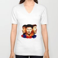 neymar V-neck T-shirts featuring Barcelona by IremYorukoglu