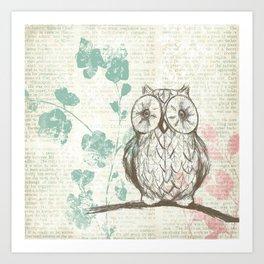 Owl Resting on Tree  Art Print