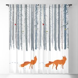 Fox in the white snow winter forest illustration Blackout Curtain