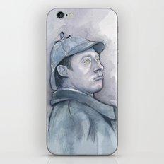 Data as Sherlock Holmes Watercolor TNG Portrait iPhone & iPod Skin