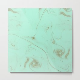 Elegant gold and mint marble image Metal Print