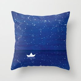 Zen sailing, ocean, stars Throw Pillow
