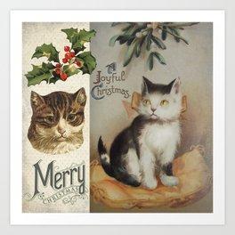 Merry Catmas vintage cat xmas illustration Art Print