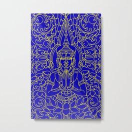 Royal Cambodian Gates-Yellow and Royal Blue Metal Print