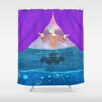 future Shower Curtains featuring Future by John-Ace
