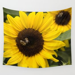 Sunflower with bees Wall Tapestry