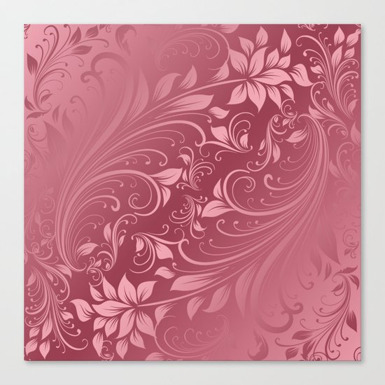 Rose quartz swirls leaves Canvas Print