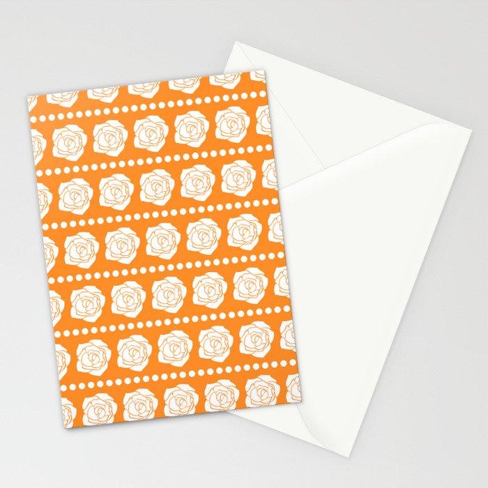 Simple White Roses - Orange BG Stationery Cards