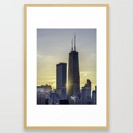 Sunlight peeking through Chicago skyscrapers Framed Art Print
