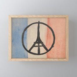 Paris Peace Symbol Eiffel Tower French Tricolor Framed Mini Art Print