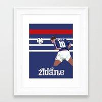 zidane Framed Art Prints featuring Zinedine Zidane: France 98 by Andrew Gibney