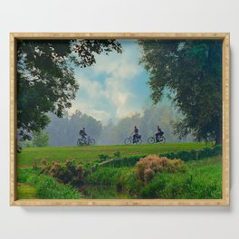 Cyclists On Country Road Serving Tray
