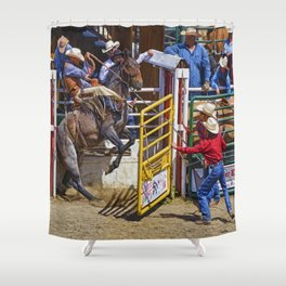 The Release - Rodeo Bronco Riding Shower Curtain