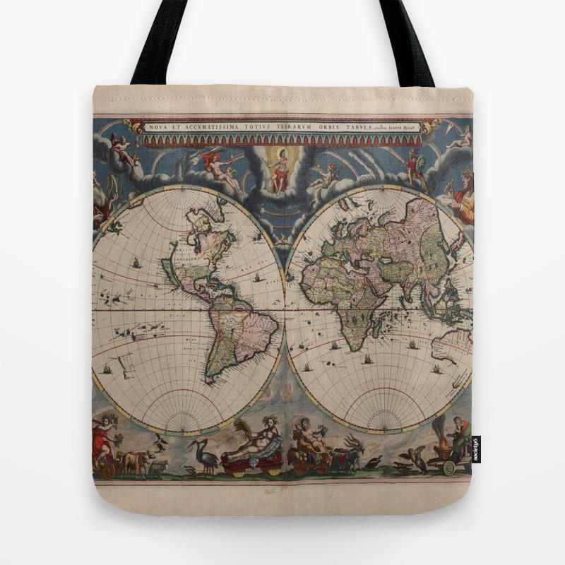 Vintage World Map - Terrarum Orbis Tabula 1664 Tote Bag on wwii map bag, travel bag, german map bag, korean map bag, military map bag, poster bag, russian map bag, italian map bag, vintage compass, world map bag, leather map bag,