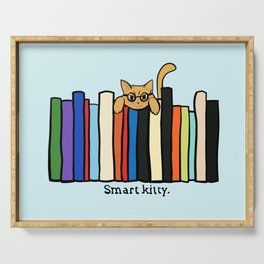 Smart kitty: great gift for writers who love cats! Serving Tray