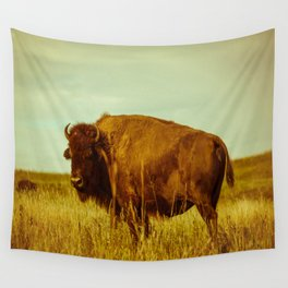 Vintage Bison - Buffalo on the Oklahoma Prairie Wall Tapestry