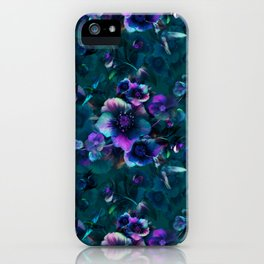 Moody Florals petrol by Odette Lager iPhone Case