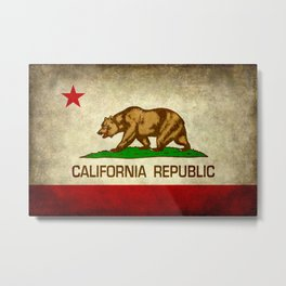 California Republic Retro Flag Metal Print