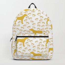 Big Yellow Dog and Paw Prints Backpack