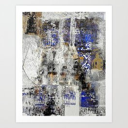 Café - Mixed Media Acrylic Gel Print Abstract Modern Art, 2015 Art Print