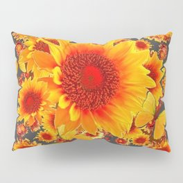 BLACK-GREY RED SUNFLOWERS PATTERS Pillow Sham