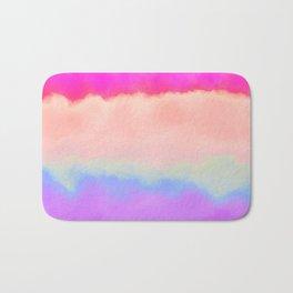 Modern girly pink magenta violet lavender watercolor stripes Bath Mat
