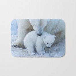 Polar Bear Mother and Cub portrait. Bath Mat